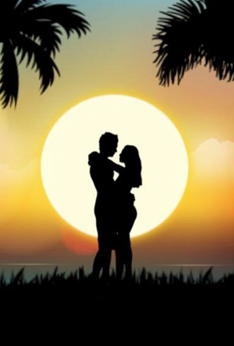 el anochecer más romántico entre palmeras
